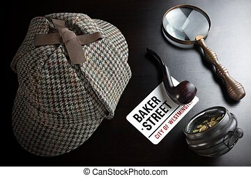 Sherlock Deerstalker Hat,  Clock, Magnifier And Smoking Pipe In Dark