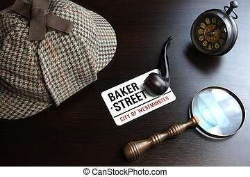Sherlock Deerstalker Hat, Clock, Magnifier And Smoking Pipe...