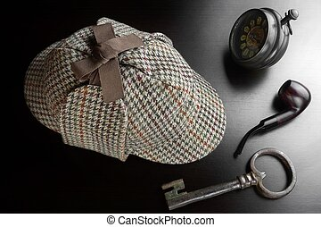 Sherlock Deerstalker Hat,  Key, Clock,Smoking Pipe On Black Table