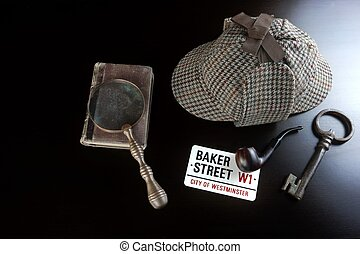 Sherlock Deerstalker Hat,  Pipe, Key And Magnifier On Black Table