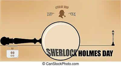 sherlock, dia, cartão postal, holmes