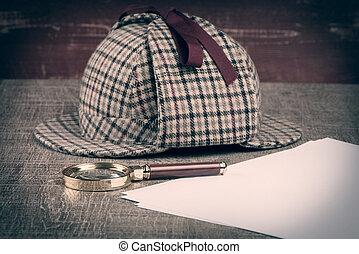 Sherlock Hat and magnifying glass - Deerstalker or Sherlock...