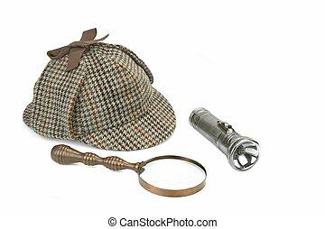 Sherlock Holmes Cap, Vintage Magnifying Glass And Retro Flashlight