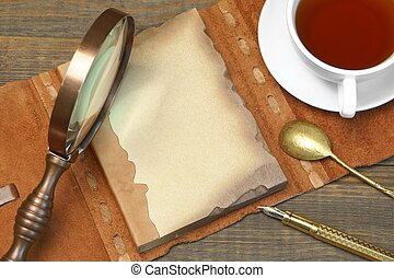Sherlock Holmes Concept. Private Detective Tools On The Wood Table