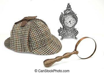 Sherlock Holmes Deerstalker Cap, Vintage Magnifying Glass And Old Clock