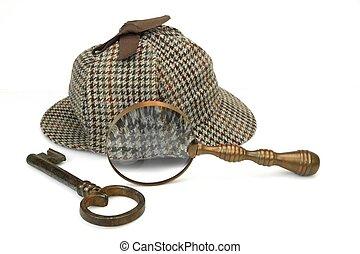 Sherlock Holmes Deerstalker Cap, Vintage Magnifying Glass...