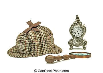 Sherlock Holmes Deerstalker Cap, Vintage Magnifying Glass And Old Clock