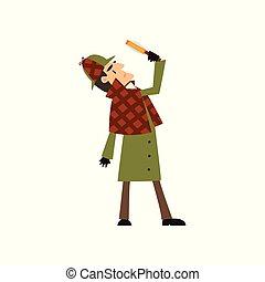 Sherlock Holmes detective character looking at magnifying...