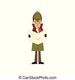 Sherlock Holmes detective character reading newspaper vector...