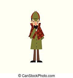 Sherlock Holmes detective character thinking vector...