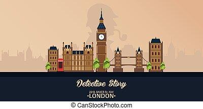 Sherlock Holmes. Detective illustration. Illustration with Sherlock Holmes. Baker street 221B. London. Big Ban.