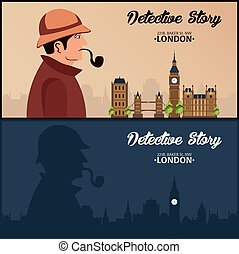 Sherlock Holmes. Detective illustration. Illustration with Sherlock Holmes. Baker street 221B. London. Big Ban.