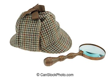 Sherlock Holmes Hat and Retro Magnifying Glass
