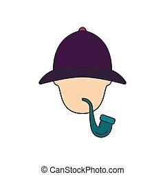 Sherlock Holmes icon, cartoon style - Sherlock Holmes icon....
