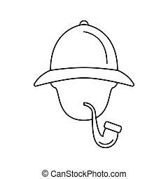Sherlock Holmes icon, outline style - Sherlock Holmes icon....