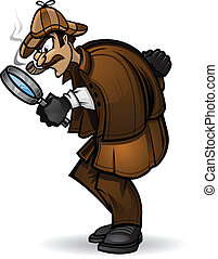 Sherlock Holmes - Illustration of Detective looking through...