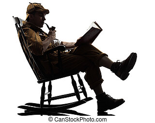 sherlock holmes, lectura, silueta