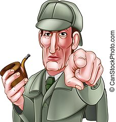 A Sherlock Holmes style Victorian detective cartoon character pointing at the viewer and holding a pipe