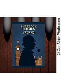 Sherlock Holmes poster. Baker street 221B. London. Big Ban...