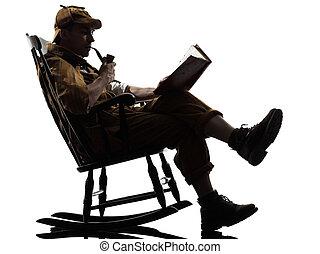 sherlock holmes reading silhouette