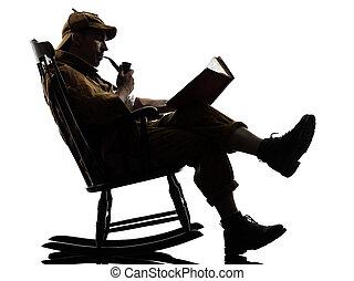 sherlock holmes reading silhouette sitting in rocking chair...