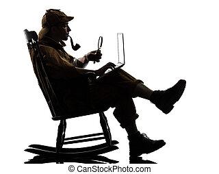 sherlock holmes silhouette computing - sherlock holmes with...