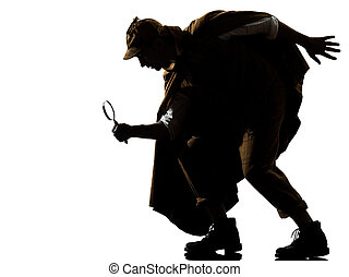 sherlock holmes silhouette in studio on white background