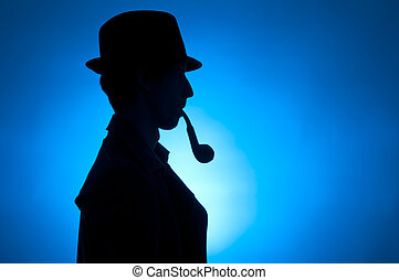 Sherlock Holmes - Silhouette of a private detective isolated...