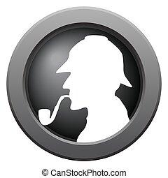 Sherlock Icon Dark Metal - A Sherlock icon in blue isolated...