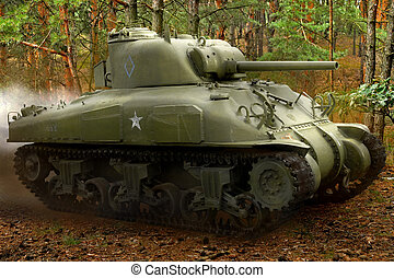 Sherman tank in the forest - US Sherman M42 tank in action. ...