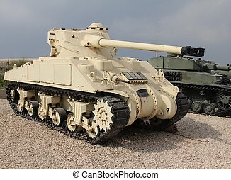 Sherman tank - Old american 'Sherman' tank with french made ...
