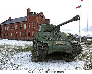 Sherman Tank - Sherman tank from World War ll in front of an...