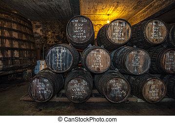 Sherry barrels in Jerez bodega, Spain