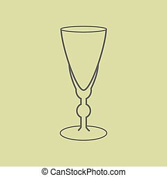 Sherry vermouth glass on the green background. Vector...