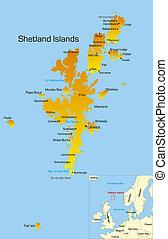 Shetland Islands  - color map of Shetland Islands