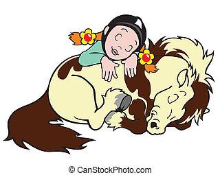 shetland, m�dchen, pony