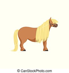 Shetland pony, thoroughbred horse vector Illustration...