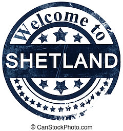 Shetland stamp on white background