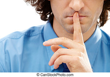 Shhh - Image of gesture: male finger over lips