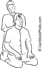 Shiatsu massage illustration