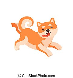 Shiba Inu Dog Running with Tongue Sticking Out, Cute Funny Japan Pet Animal Cartoon Character Vector Illustration