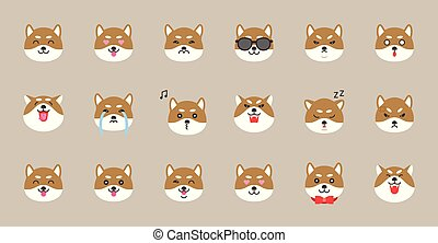 shiba inu emoticon, flat style vector illustration