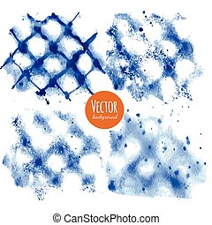 Shibori indigo dyed watercolor backgrounds in vector.