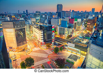 Shibuya Crossing in Tokyo, Japan. - Cityscape image of...