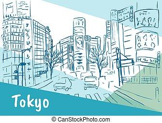 shibuya, rue, achats