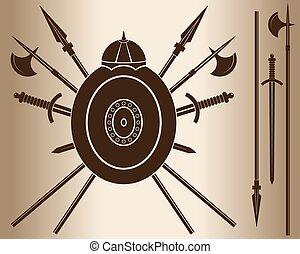 shield., 中世紀, 劍
