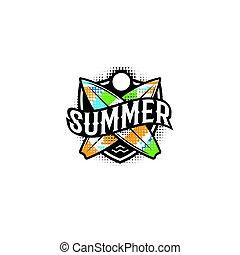 shield., 夏, ベクトル, illustration., カラフルである, テキスト, 現代, ポスター, スポーツ, 2, デザイン, 太陽, ロゴ, 要素, 休日, style., サーフィンをしなさい