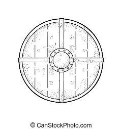 shield., 彫版, 木, ベクトル, 黒, 型, ラウンド