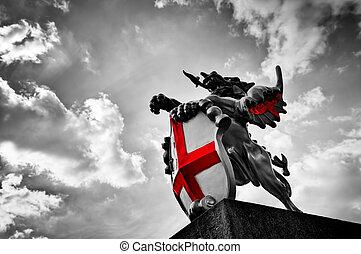 shield., 旗, 伦敦, 龙, uk., 黑色, 雕像, 白色, st george, 红