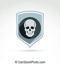 shield., 頭, 頭骨, 抽象的, イラスト, シンボル, ベクトル, 頭蓋, 人間, icon., 死んだ